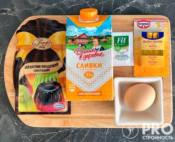 продукты для приготовления домашнего мороженого из сливок и без сахара