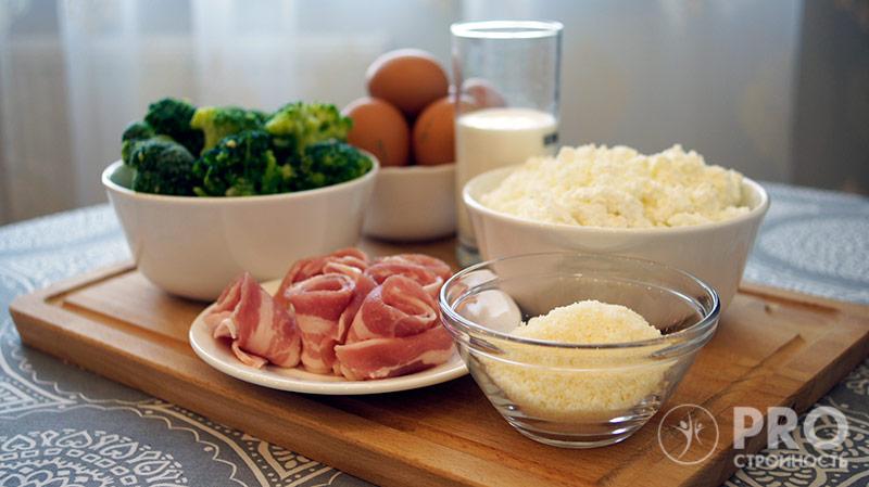 ингредиенты для приготовления запканки из творога с брокколи и беконом